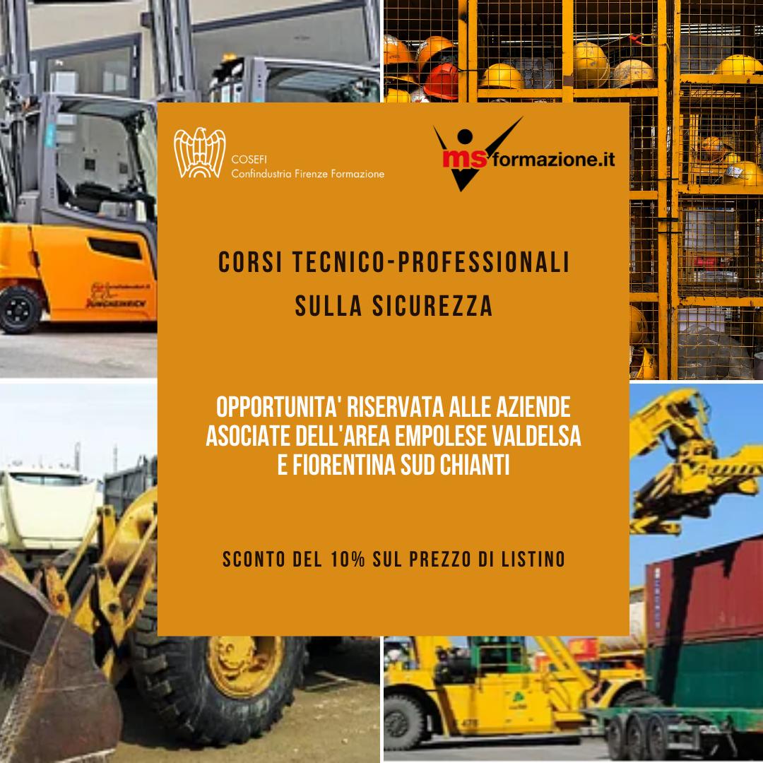 Percorsi formativi in ambito sicurezza dedicati alle aziende associate dell'Area Empolese Valdelsa e Fiorentina Sud Chianti